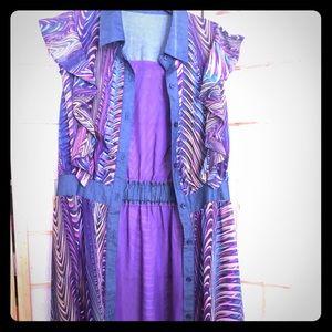 Print Purple Maxi Shirt Dress